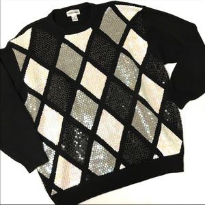 Alfred Dunner black white sequin knit sweater 3X